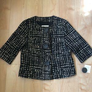 Michael Kors 3/4 sleeve blazer black white nwt S